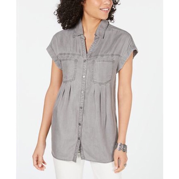 Style & Co Tops - STYLE & CO Pleated Cuffed-Sleeve Top